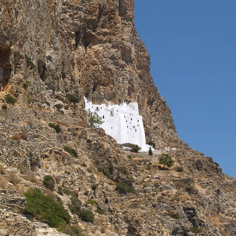 Close up view of Panagia Hozoviotissa monastery